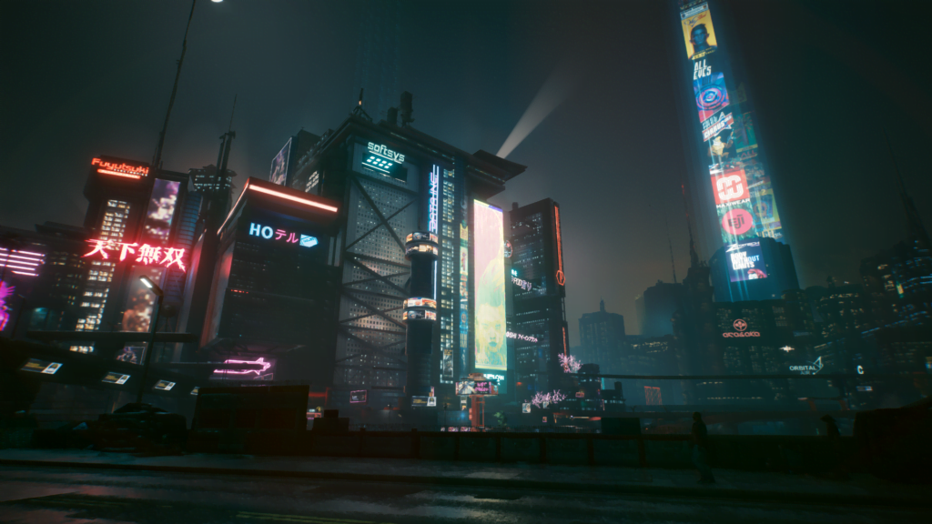 Cyberpunk 2077: Night City at night.
